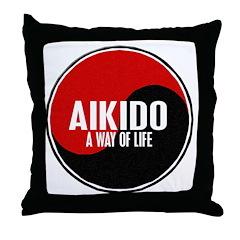 AIKIDO Way Of Life Yin Yang Throw Pillow