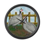 Lavender Guinea Fowl Large Wall Clock