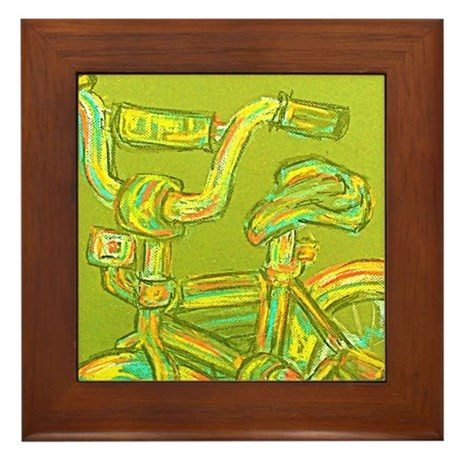 A Green Bike Framed Tile