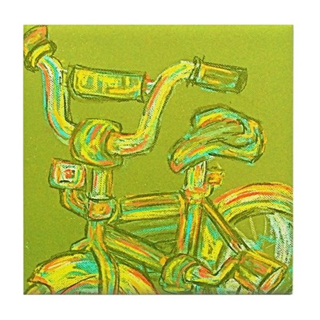 A Green Bike Tile Coaster