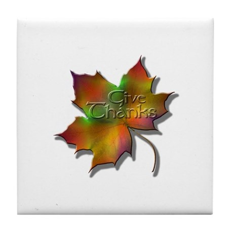 """Give Thanks"" Leaf Tile Coaster"