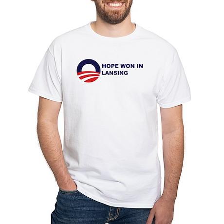 Hope Won in LANSING White T-Shirt