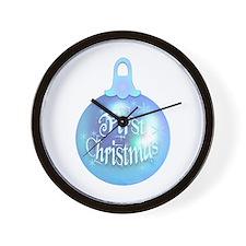 First Christmas (blue) Wall Clock