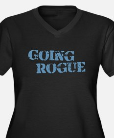 Blue Going Rogue Women's Plus Size V-Neck Dark T-S
