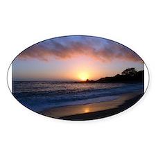 Carmel Beach Sunset Oval Decal