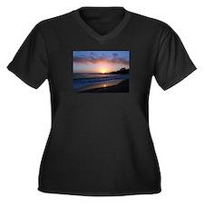 Carmel Beach Sunset Women's Plus Size V-Neck Dark