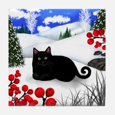 BLACK CAT WINTER BERRIES Tile Coaster
