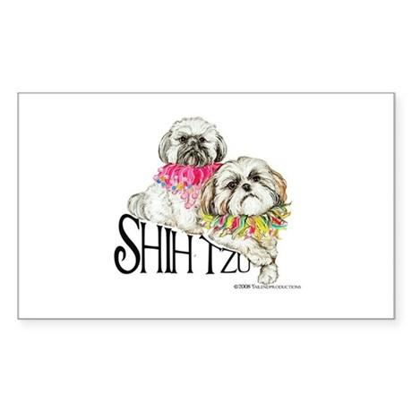 Two Shih Tzu! Rectangle Sticker
