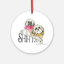 Two Shih Tzu! Ornament (Round)
