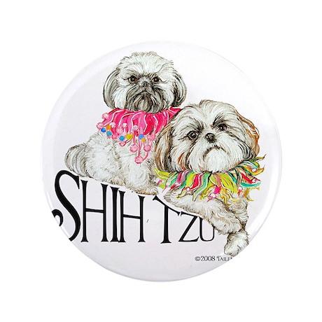 "Two Shih Tzu! 3.5"" Button"