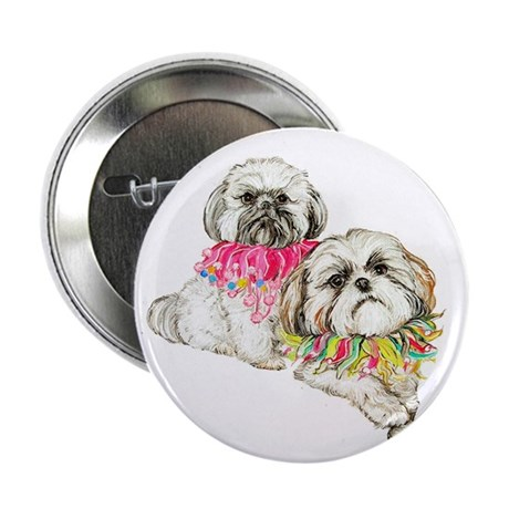 """Two Shih Tzu! 2.25"""" Button (10 pack)"""