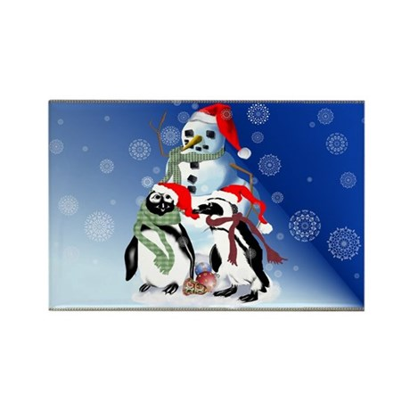 Christmas Penquin and Snowman Rectangle Magnet (10