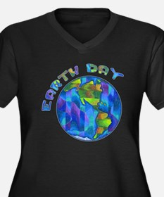 Earth Day Women's Plus Size V-Neck Dark T-Shirt