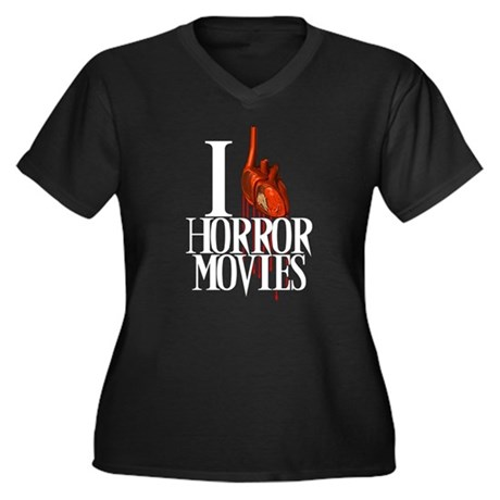 I Heart Horror Women's Plus Size V-Neck Dark T-Shi