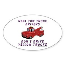 Red Tow Truck Gifts Oval Decal