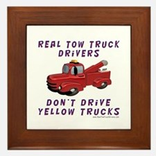 Red Tow Truck Gifts Framed Tile