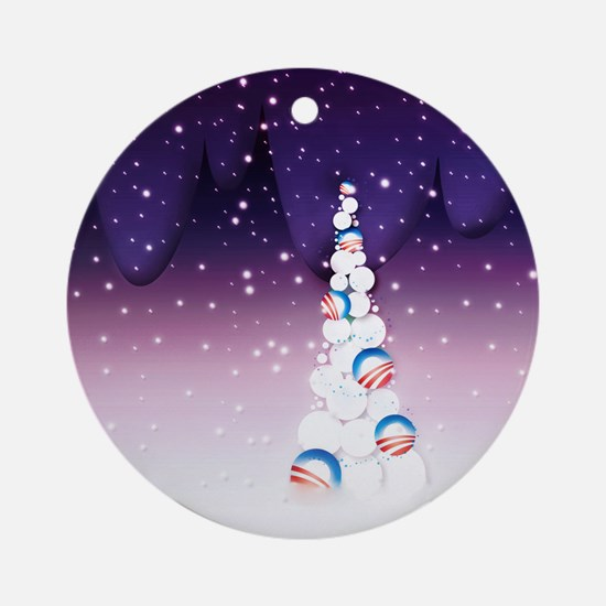 Obama Christmas Tree Ornament (Round, Purple)