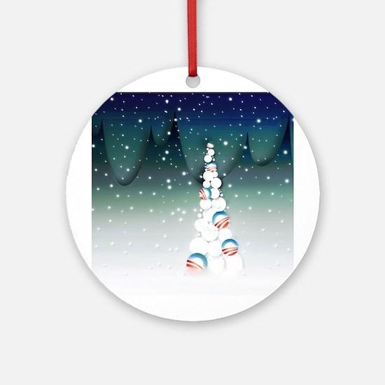 Obama Christmas Tree Ornament (Round, Green)