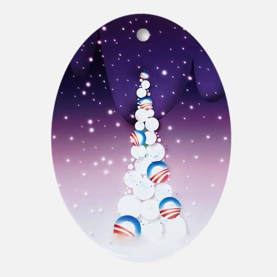 Obama Christmas Tree Ornament (Oval, Purple)