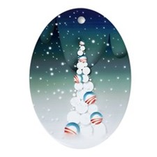 Obama Christmas Tree Ornament (Oval, Green)