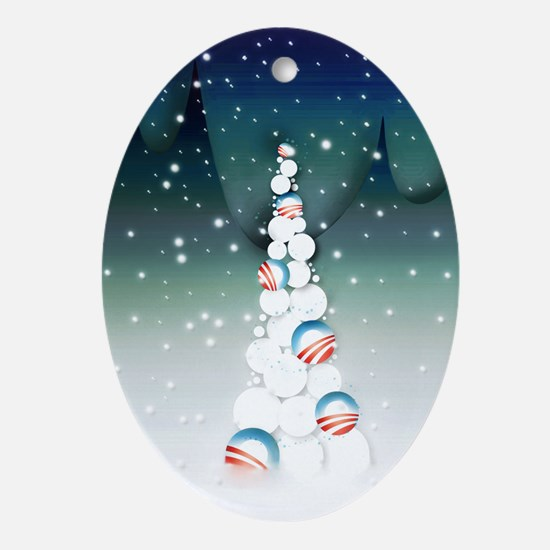 Obama Christmas Tree Ornament (Oval, Green)