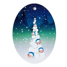 Obama Christmas Tree Ornament (Oval, Vivid Colors)