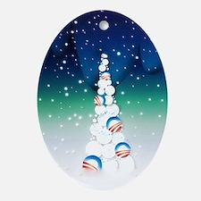 Obama Christmas Tree Ornament (Oval, Vivid Colors)