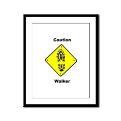 Caution Walker Framed Panel Print