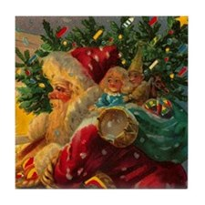 Christmas Santa Claus Art Tile Coaster SHINY!
