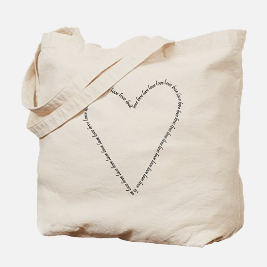 LOVE - Heart Outline Tote Bag