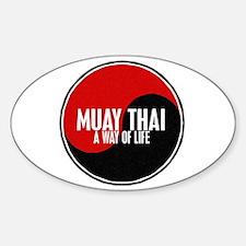 MUAY THAI Way Of Life Yin Yang Oval Decal