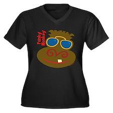 Funky Monkey Women's Plus Size V-Neck Dark T-Shirt