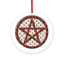 Candles Pentagram Yule Tree Ornament (Round)