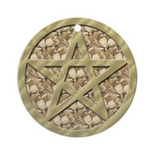 Earth Nature Pentagram Yule Tree Ornament (Round)
