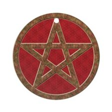 Wicca Pentagram Yule Tree Ornament (Round)