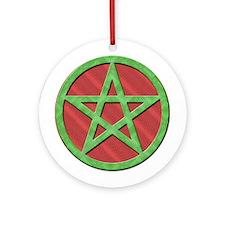 Pentagram Red Green Yule Tree Ornament (Round)