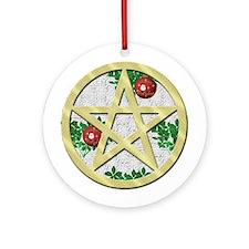 Gold Pentagram Yule Tree Ornament (Round)