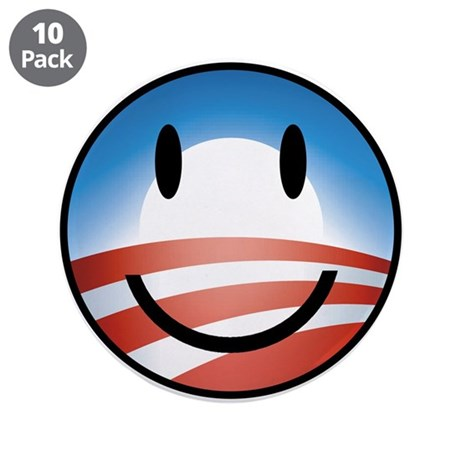 """Happy Obama 3.5"""" Button (10 pack)"""