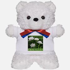 White Peony Tulip Teddy Bear
