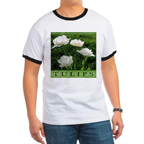 White Peony Tulip Ringer T