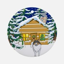 Old Fashioned Sheltie Christmas Ornament (Round)