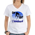 I Snowboard Women's V-Neck T-Shirt