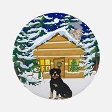 Old Fashioned Rottweiler Christmas Ornament (Round