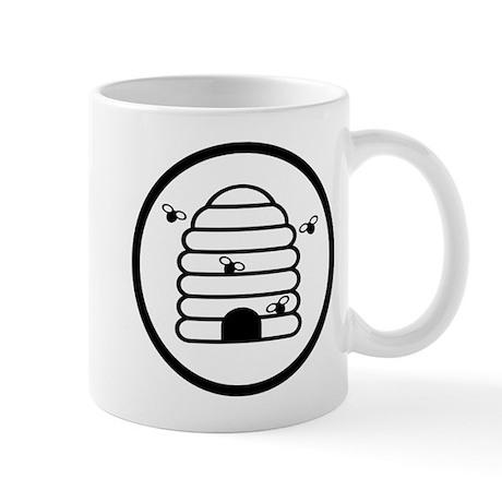 Bee Hive Black and White Mug