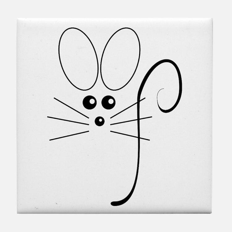 Black Mouse Tile Coaster