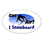 I Snowboard Oval Sticker (50 pk)