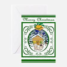 Old Fashioned Pekingese Christmas Greeting Card