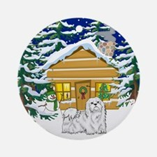 Old Fashioned Maltese Christmas Ornament (Round)