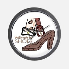 Will Work For Shoes Wall Clock