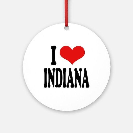 I Love Indiana Ornament (Round)